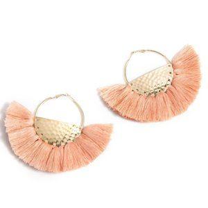 NWT! Anya Peach Fringe Boho Hoop Earrings